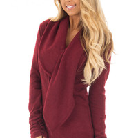 Wine Long Sleeve Top with Build In Scarf