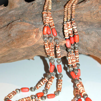 Vintage 35'' Coral and Ox Bone and Silver Tribal Boho Necklace Native American