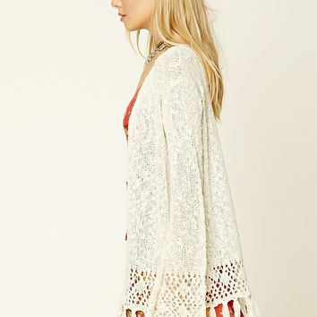 Tasseled Open-Front Cardigan