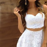 White Sweetheart Neck Lace Skirt Set