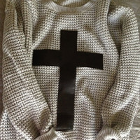PU Cross Sweater