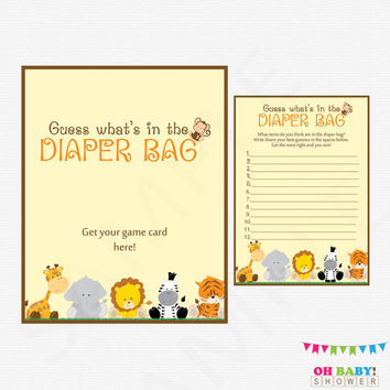 Guess What's in the Diaper Bag, Safari Baby Shower Games, Jungle Baby Shower, Diaper Bag Game, Baby Shower Activity, Printable, BS0001-N