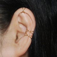 Ear cuff,Best Selling Item,Trending Item,16K gold dipped Twins X ear cuff,No Piercing Cartilage Ear Cuff, Ear Jacket, Ear Wrap