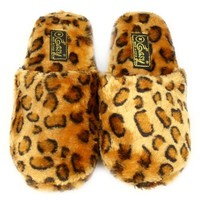Animal Print Soft Cushion Indoor Outdoor Non Slip Sole Slippers Leopard M 7-8