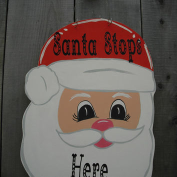 Santa Claus door hanger - Santa Claus - Christmas door decor - Christmas door hanger  - Out door decor © Jack Jack's Wayart