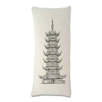 Pagoda asian tower fashion pillow - decorative throw pillow - couch pillow - home decor, Personalized pillow