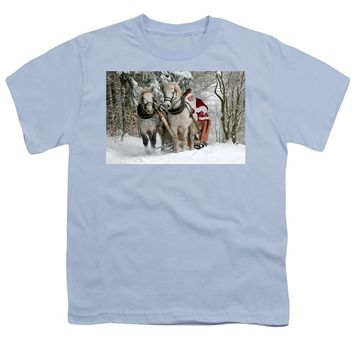 Santa Sleigh With Horses - Youth T-Shirt
