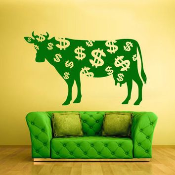Wall Vinyl Decal Sticker Bedroom Decal Decal Cow Dollar Money Milk Funny  z595