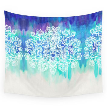 Society6 Indigo & Aqua Abstract - Doodle Painting Wall Tapestry