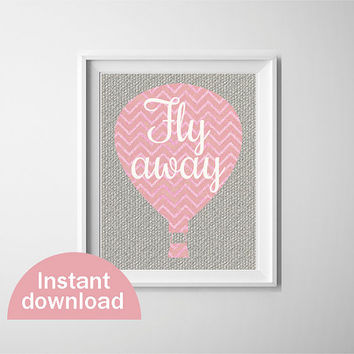 Cute baby girl nursery art. Pink chevron hot air balloon on grey burlap background. 8x10 inch instant download printable nursery decor.