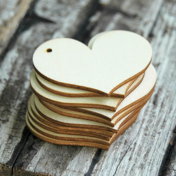 10 Unfinished Wood Heart Tags . 2 3/8 inch Natural Wooden Hearts . DIY Wedding Decorations .