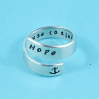 i refuse to sink - Hope Ring, Hand Stamped Spiral Aluminum Ring, Anchor Ring, Best Gift Ring