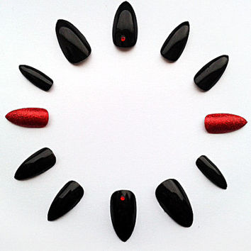 Black & Red Stiletto Fake Nails, Hand Painted False Nails, Handpainted Artificial Nails, Nail Art Design
