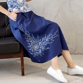 Skirts Womens Cotton Linen Casual Vintage embroidery Flower Skirt Solid Color 2017 New Spring Summer Skirts