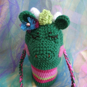 Amigurumi Green Dragon Water Bottle Carrier, Water Bottle Holder Cover, Crochet Bag, Kids Accessory, Gift Idea, Ready to Ship