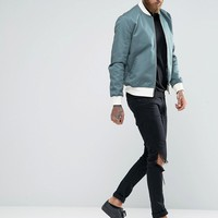ASOS Bomber JacketWith Sleeve Zip In Trellis Green
