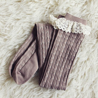 Sweetheart Lace Socks in Taupe