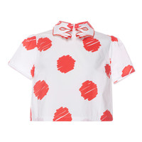 Red And White Ibiscus Sandy Blouse