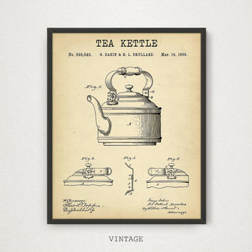 Tea Kettle Patent Print, 4 COLORS Printable, Tea Poster, Kitchen Wall Art, Tea Theme Gallery Wall Vintage Tea Kettle Kitchen Decor Tea Print