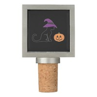 Halloween Witch Cat and Pumpkin Wine Stopper