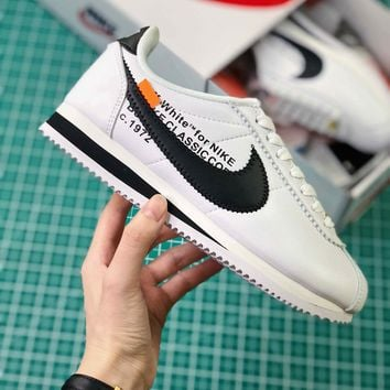 Off White X Nike Classic Cortez Leather White Black Sport Running Shoes - Best Online Sale