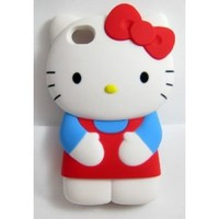 "Newest 3D Hello Kitty iPhone 4S/4G/4 Silicon Hard Case/Cover/Faceplate/Protector-Blue/Red-""Perfect Edition"""