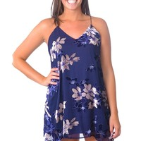 Velvet Flowers Dress - Navy