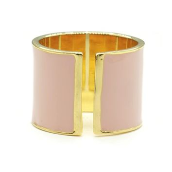 15mm Split Shank Cigar Band Ring in Pink Epoxy and Gold Tone Finish