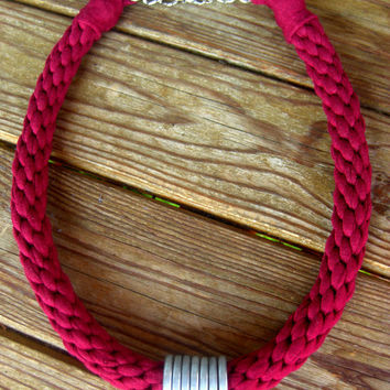 Burgundy Nemertea & Silvered Washers. Tshirt yarn necklace