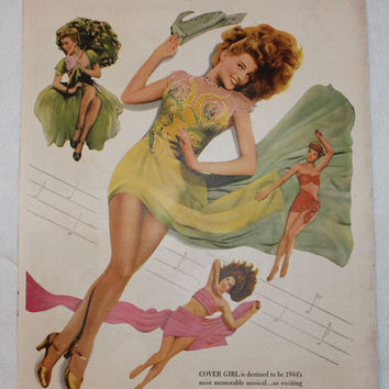 Vintage 1944 Cover Girl Musical Movie Pin Up Girl Print Ad Advertising Wall Art Decor