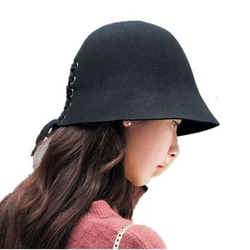 Seioum Brand new Wool Fedora hats For Women solid color Vintage Ribbon bowknot hats Ladies Autumn Winter Soft bucket black hat