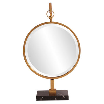Mirrors, Medallion Standing Mirror, Gold, Wall Mirrors