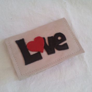 leather card holder love, leather wallet, credit card, upcycled, leather purse, oystercard holder, applique, leather art