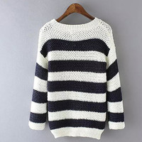 Black&White Stripe Knitted Sweater