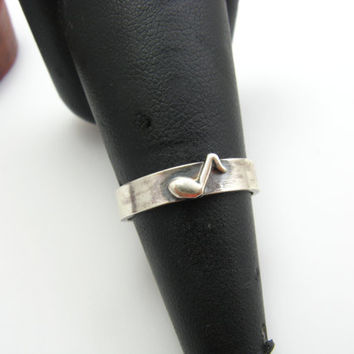Sterling Silver Music Note Ring Band Size 7 Ready to Ship Music Jewelry Sterling Silver Handmade Metalwork Jewelry Eighth Note Music Jewelry