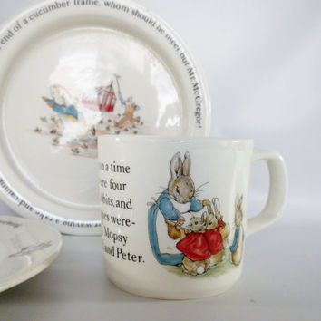 Peter Rabbit, Wedgwood 3 Piece Set, Mug, Bowl and Plate, Easter Gift