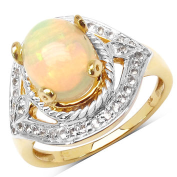 14K Yellow Gold Plated 1.88 Carat Genuine Ethiopian Opal & White Topaz .925 Sterling Silver Ring