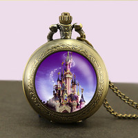 Disney Castle, Locket necklace,castle Pocket Watch Necklace,fob watch locket necklace