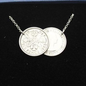 Personalised Year Double Sixpence Coin Necklace