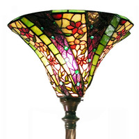 Tiffany Style Stained Glass 3D Purple Wave Torchiere Floor Lamp 1915+BB75B