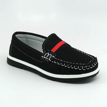 Boy's Black Casual Shoes with Red Strip Detail