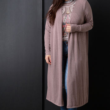 Ribbed Knit Long Sleeves Open Front Cardigan
