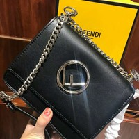 FENDI Fashion Women Classic Leather Metal Chain Crossbody Satchel Shoulder Bag