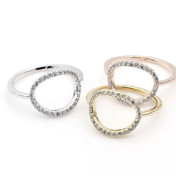 Luck karma Circle Love Stacking Ring detailed in Cubic Zirconia in 3 colors