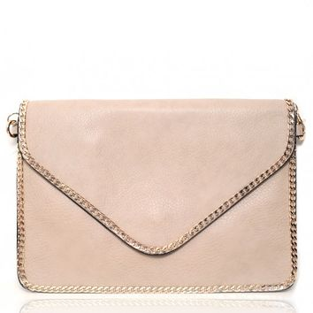 Wanstead Stone Textured Leather Gold Trim Strap Bag | Pink Boutique
