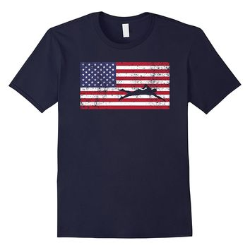 American Flag Swim T-Shirt Swimmer Swimming USA Cool Fun Tee