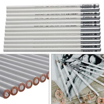 12pcs White Fine Art Drawing Non-toxic Base Pastel Pencils Set For Artist Sketch chalk