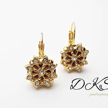 Swarovski Snowflake Drop Earrings, Lever Backs, Gold, Crystal, Classic, 12mm, Winter, Holiday Jewelry, DKSJewelrydesigns, FREE SHIPPING
