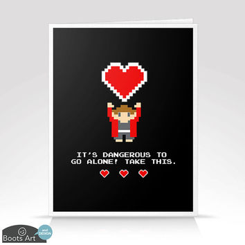 Take This - Geeky Gamer Valentine's Day Greeting Card with Envelope. Size A2. Blank inside. Single or set of 6.