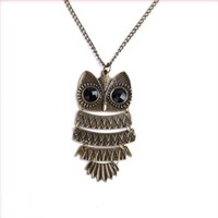 "Acczilla Lovely Nickel Plated Textured Owl Pendant With 25"" Chain"